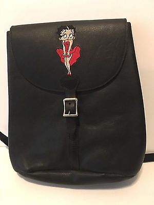 Vintage 1995 Betty Boop Black Genuine Leather Rucksack Backpack.