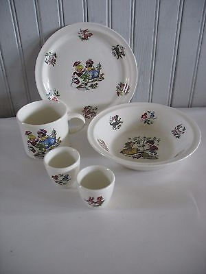Arklow Pottery Ireland Nursery Rhymes 5 Piece Childs Childrens Set Birds animals