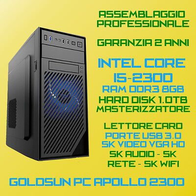 COMPUTER ASSEMBLATO PC DESKTOP INTEL Core i5-2300 RAM 8GB HDD 1TB DVD-RW USB3.0
