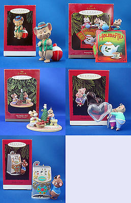 5 Hallmark Keepsake Mice Christmas Ornaments Tree Blend Jackpot Fishmas Hearts