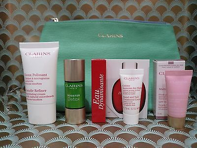 Clarins Gift Set Bag, Detox Booster, Refiner, Eau Dynamisante, Hand & Face Cream