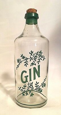 "Extremely Rare! Antique Gin Bottle 1800's Painted Green Design Saloon 9"" Tall 7"