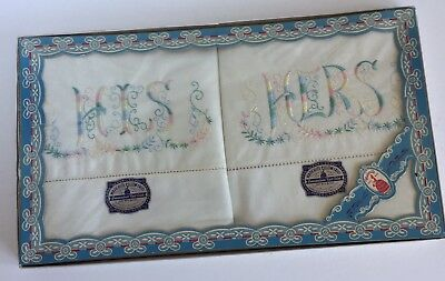 Vintage HIS HERS MADERITE PILLOWCASES PAIR in Box 42 x 36 NEW Embroidered Pastel