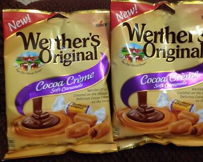 NEW Werther's Original Cocoa Creme Cream Soft Caramels 2 Bags 2.22 Oz  EACH