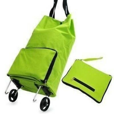 Grocery Cart With Wheels Kittymouse Foldable Wheeled Shopping Cart Bag Green