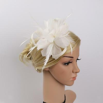 Vintage Feather Fascinator 1920's Great Gatsby Hair Clips Brooach Pin White