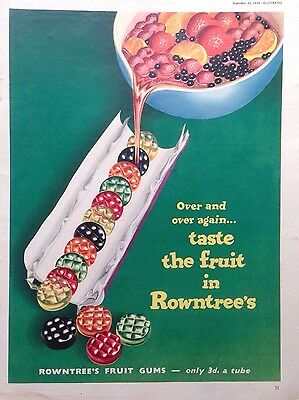 vintage advertising original 1954 ROWNTREE S FRUIT GUMS AD RETRO BRITISH SWEETS
