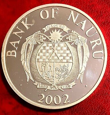 2002 Nauru $10 Whales The Whales Silver Proof w/ Mother of Peal