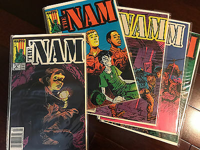 Lot of 4 The ' Nam Comic # 8,9,10,12,13 Marvel Comics  1987 - 1988 FN+ to VF-
