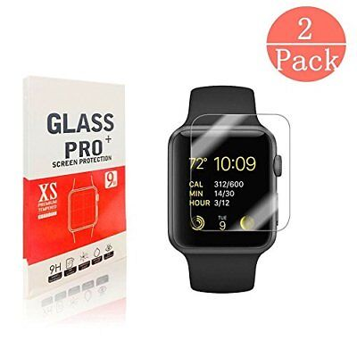 2 Pack Apple Watch 42mm Screen Protector 9H Tempered Glass HD Clear Anti Scratch
