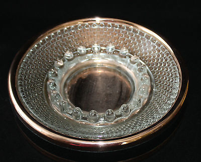 Coppercraft Guild Ashtray Holder Glass Hobnail 1970s Leather Wrap Retro Vintage