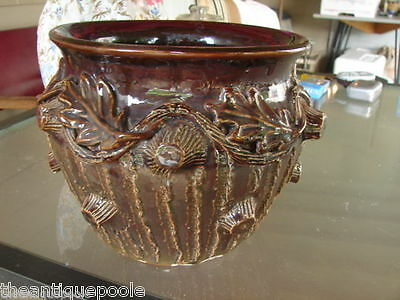 19thC Folk Arts Crafts Brown Glaze Jardiniere Artist sgnd for Doctor Victor NY
