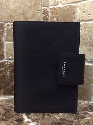 "Kate Spade NY 6 Ring Black Notebook Organizer Planner 8 Card Slot 7.5""x5.5"""