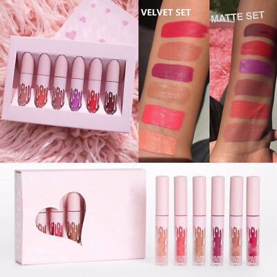6Pcs Cosmetic Long Lasting Makeup Liquid Matte Lip Gloss Waterproof Lipstick Kit
