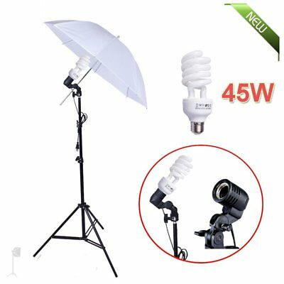 45W Photo Studio Continuous Lighting Umbrella Light Lamp Photography Stand Kit Y