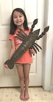 "Huge Wooden Lobster / Shrimp Carving - Vintage Solid Wood - Rare 26"" Long"
