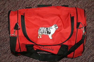 Aussie, Australian Shepherd Dog Embroidered On a Red Duffel With Shoe Storage