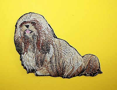 """Lhasa Apso Dog Embroidered Patch Approx Size 4""""x3"""""""