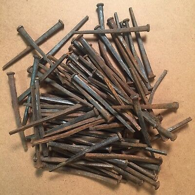 "100 (5lbs) 4.5"" Long Antique Square Cut Wrought Iron Nails From 1800's"
