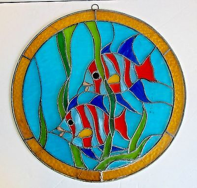 Stained Glass Window Panel Hanging Round Fish Tropical Leaded Hand Cut Crafted