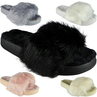 New Womens Ladies Rubber Multi Faux Fur Sliders Flats Shoes Slides Slippers Size
