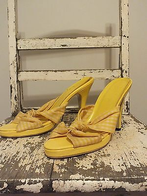 *Vintage Yellow Checked Heels Size 39*