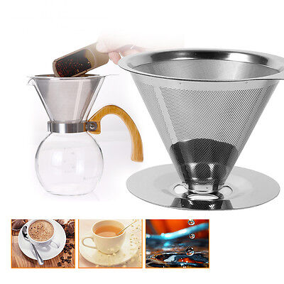 New Pour Over Dripper Coffee Maker Filter Cup Stand 2 Layer Mesh Stainless Steel