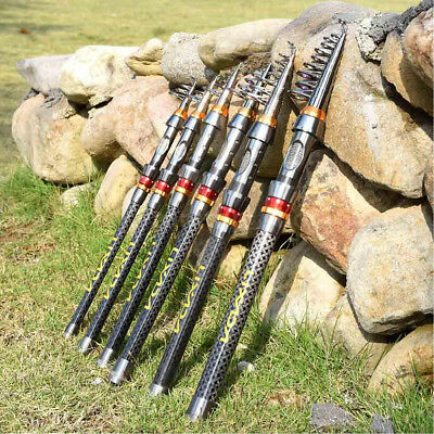 1.8m-3.6meters Carbon Fiber Telescopic Spinning Reel Rod Sea Fishing Pole Travel