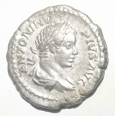 Ancient Roman Empire Silver Coin Caracalla 196AD-217AD Mars Holding Spear