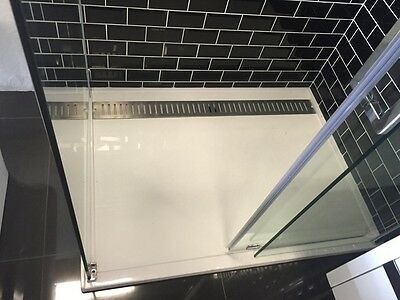 1000x1000 Solid Polly Marble Shower Base With SS Grate 40mm Slim Modern  DIY