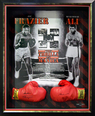 Muhammad Ali Joe Frazier Hand Signed Official Boxing Gloves Framed with COA