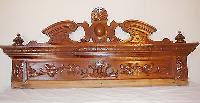 French antique carved solid Oak wood pediment panel