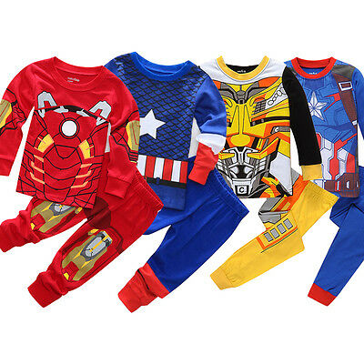 0-8Y Kids Boys Iron Man Captain America Pyjamas Outfits Sleepwear Nightwear Home