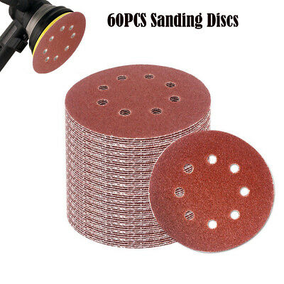 60pcs 5-inch Hook and Loop Grid Sandpaper 8-Hole 40/ 60/ 80/ 120/ 180/ 240 Grit
