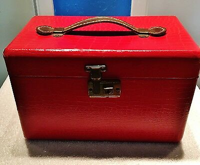 "L.U.C.E. Crocodile Print Red Top Handle ""Take Me Along"" Mirror Train Makeup Case"