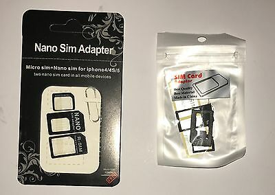 (2Styles) Universal Nano Micro Mini Sim Card Adapters (2 Packs)