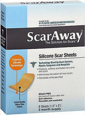 """ScarAway Silicone Scar SHEETS 8 Count (1.5"""" x 3"""") 8 ct FRESH PHARMACY STOCK!***"""