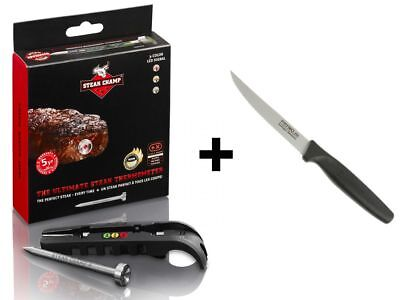SteakChamp Geschenk-Set 3c black Fleisch-Thermometer + Prymo.de® Steakmesser