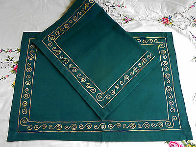Pair Cotton Place Mats Or Doilies Green And Gold -Like New