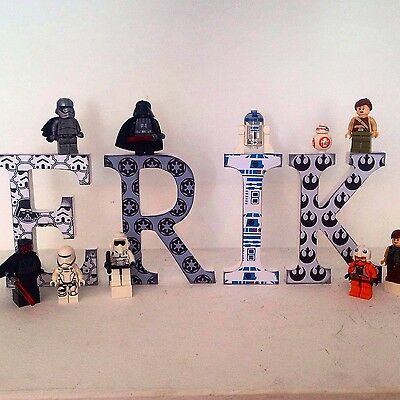 Letras de madera decoradas decoracion infantil  STAR WARS BEATLES