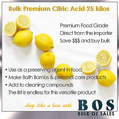 Bulk 25 Kg Citric Acid Food Grade Free Same Day Delivery Metro Melb Only Bos
