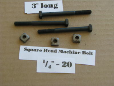 """Antique 1/4' -20 X 3""""  Square Head Bolts with Nuts  NOS LOT of 10"""
