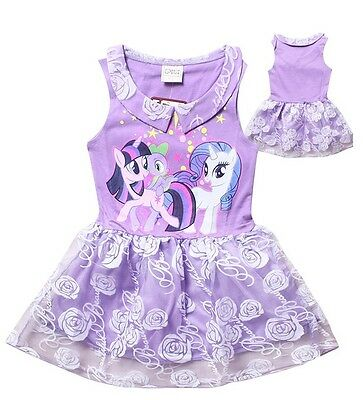Girl Dress My Little Pony Sleeveless Lace TuTu Party Birthday Dress Size 1-7 Yrs