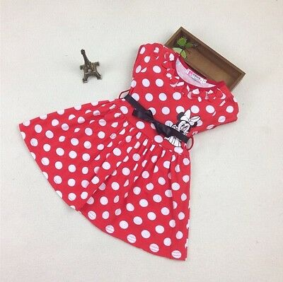 New Girl Minnie Mouse Dress Costume Cotton with Bow size 1,2,3,4,5,6 Years Gift