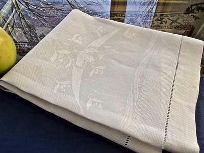 Antique 1920s White Huck Art Nouveau Damask Linen Bath Spa Show Towel 20x35