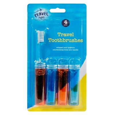 4 Pack Of Red & Blue Fold Up Foldable Travel Toothbrushes