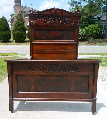 Walnut and Burl Fancy High Back Victorian Full Size Bed circa 1875
