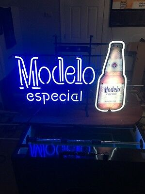 "29""x20"" HUGE Modelo Especial BEER BAR LIGHT REAL GLASS NEON Hard To Find!"