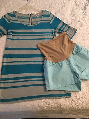 Pea In The Pod Outfit Shirt And Shorts Size Large Blue