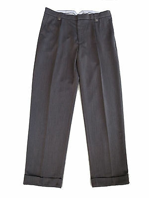 "1940s Vintage Style Grey Trousers Shaped Fishtail Waist & Turn Ups 32"" waist"
